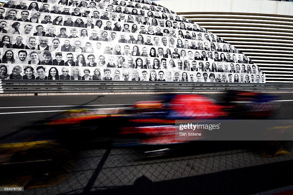 <a gi-track='captionPersonalityLinkClicked' href=/galleries/search?phrase=Daniil+Kvyat&family=editorial&specificpeople=10936016 ng-click='$event.stopPropagation()'>Daniil Kvyat</a> of Russia driving the (26) Scuderia Toro Rosso STR11 Ferrari 060/5 turbo on track during practice for the Monaco Formula One Grand Prix at Circuit de Monaco on May 26, 2016 in Monte-Carlo, Monaco.