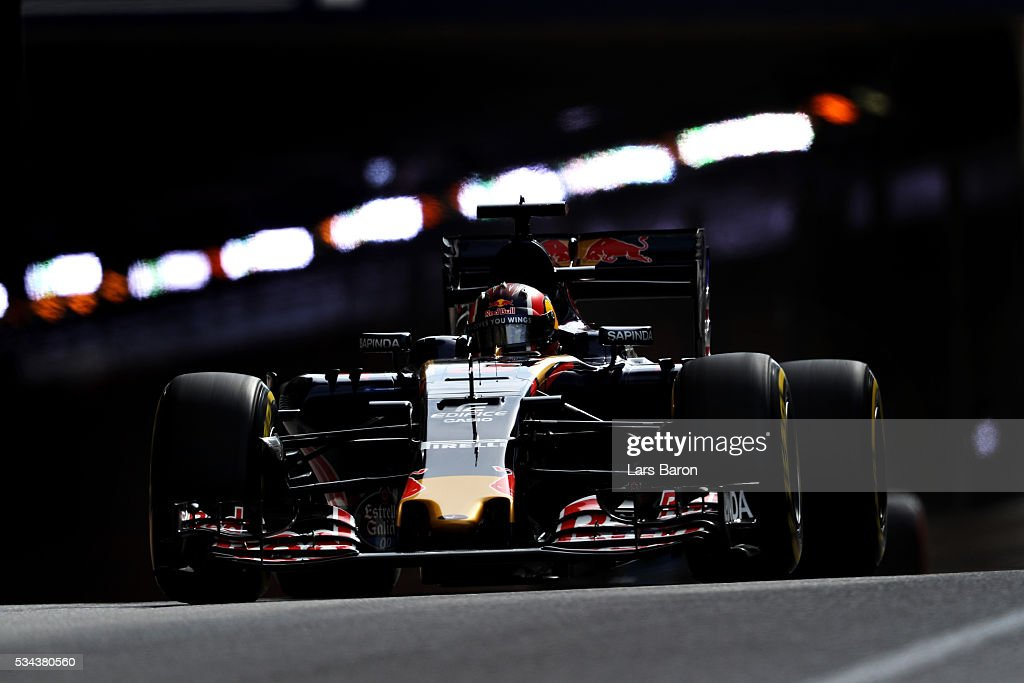 Daniil Kvyat of Russia driving the (26) Scuderia Toro Rosso STR11 Ferrari 060/5 turbo on track during practice for the Monaco Formula One Grand Prix at Circuit de Monaco on May 26, 2016 in Monte-Carlo, Monaco.