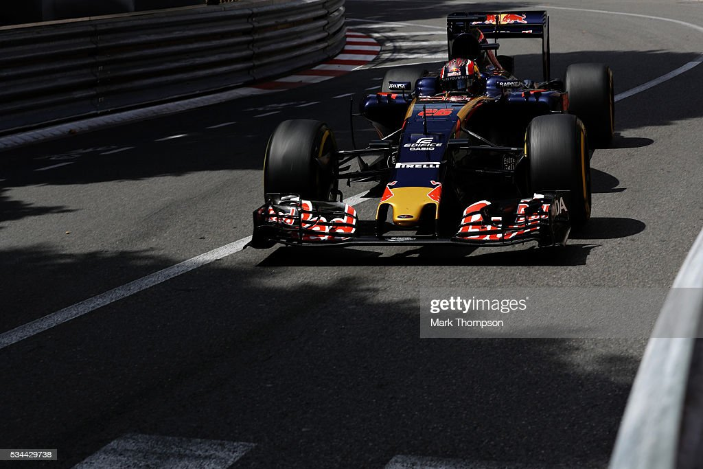 <a gi-track='captionPersonalityLinkClicked' href=/galleries/search?phrase=Daniil+Kvyat&family=editorial&specificpeople=10936016 ng-click='$event.stopPropagation()'>Daniil Kvyat</a> of Russia driving the (26) Scuderia Toro Rosso STR11 Ferrari 060/5 turbo on track during practice for the Monaco Formula One Grand Prix at Circuit de Monaco on May 26, 2016 in Monte-Carlo, Monaco.