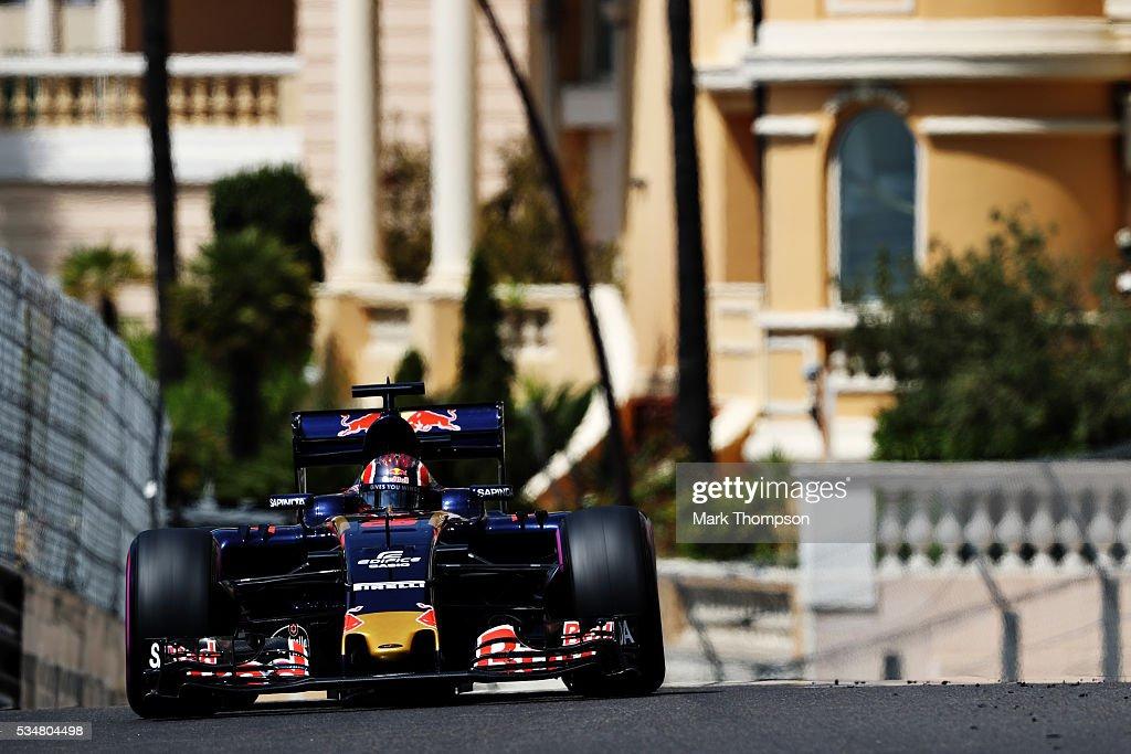 <a gi-track='captionPersonalityLinkClicked' href=/galleries/search?phrase=Daniil+Kvyat&family=editorial&specificpeople=10936016 ng-click='$event.stopPropagation()'>Daniil Kvyat</a> of Russia driving the (26) Scuderia Toro Rosso STR11 Ferrari 060/5 turbo on track during final practice ahead of the Monaco Formula One Grand Prix at Circuit de Monaco on May 28, 2016 in Monte-Carlo, Monaco.