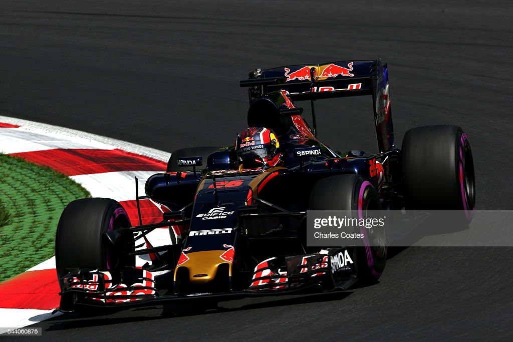 <a gi-track='captionPersonalityLinkClicked' href=/galleries/search?phrase=Daniil+Kvyat&family=editorial&specificpeople=10936016 ng-click='$event.stopPropagation()'>Daniil Kvyat</a> of Russia driving the (26) Scuderia Toro Rosso STR11 Ferrari 060/5 turbo on track during practice for the Formula One Grand Prix of Austria at Red Bull Ring on July 1, 2016 in Spielberg, Austria.
