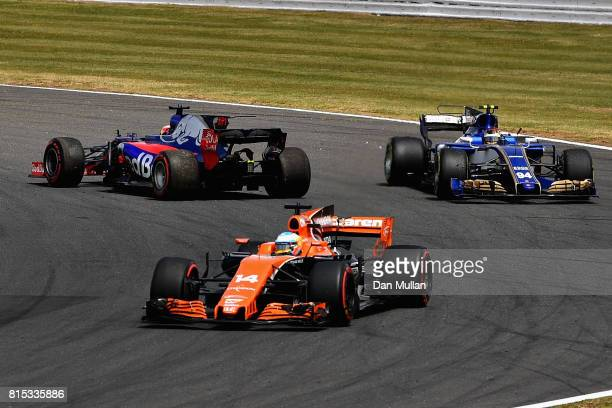 Daniil Kvyat of Russia driving the Scuderia Toro Rosso STR12 faces the wrong way on track after a collision during the Formula One Grand Prix of...