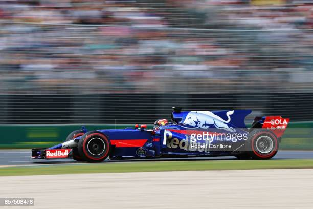 Daniil Kvyat of Russia driving the Scuderia Toro Rosso STR12 on track during final practice for the Australian Formula One Grand Prix at Albert Park...