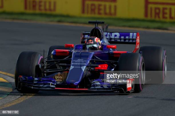 Daniil Kvyat of Russia driving the Scuderia Toro Rosso STR12 on track during the Australian Formula One Grand Prix at Albert Park on March 26 2017 in...
