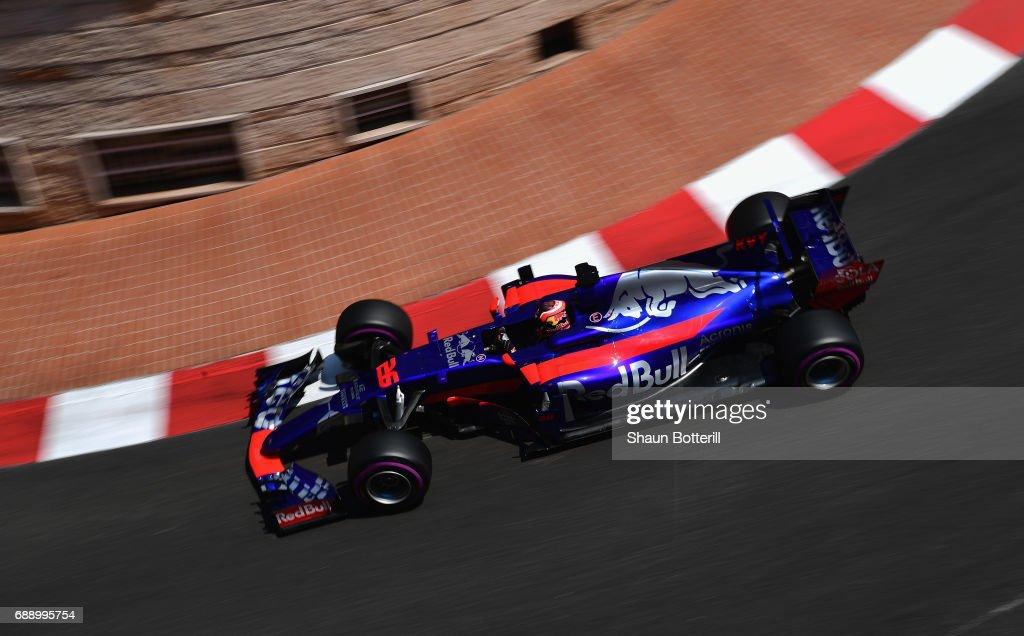Daniil Kvyat of Russia driving the (26) Scuderia Toro Rosso STR12 on track during qualifying for the Monaco Formula One Grand Prix at Circuit de Monaco on May 27, 2017 in Monte-Carlo, Monaco.