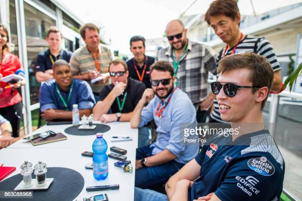 Daniil Kvyat of Scuderia Toro Rosso and Russia during previews ahead of the United States Formula One Grand Prix at Circuit of The Americas on...