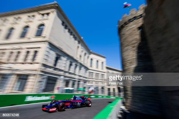 Daniil Kvyat of Scuderia Toro Rosso and Russia during qualifying for the Azerbaijan Formula One Grand Prix at Baku City Circuit on June 24 2017 in...