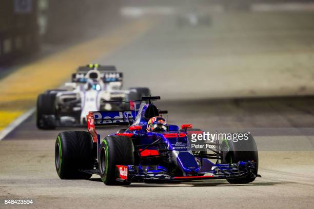Daniil Kvyat of Scuderia Toro Rosso and Russia during the Formula One Grand Prix of Singapore at Marina Bay Street Circuit on September 17 2017 in...