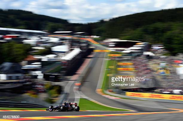 Daniil Kvyat of Toro Rosso and Russia drives around Eau Rouge during the Belgium Grand Prix at Circuit de SpaFrancorchamps on August 24 2014 in Spa...