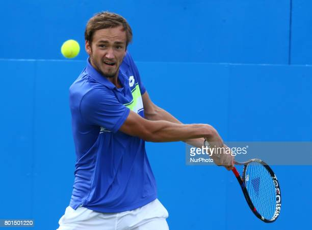 Daniil Medvedev against Grigor Dimitrov during Men's Singles Quarter Final match on the fourth day of the ATP Aegon Championships at the Queen's Club...