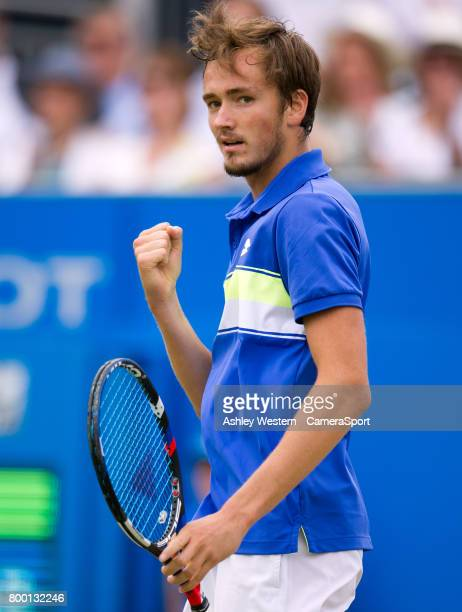 Daniil Medvedev of Russia celebrates a point against Grigor Dimitrov of Bulgaria in their Men's Singles Quarter Final Match during Day 5 of the Aegon...