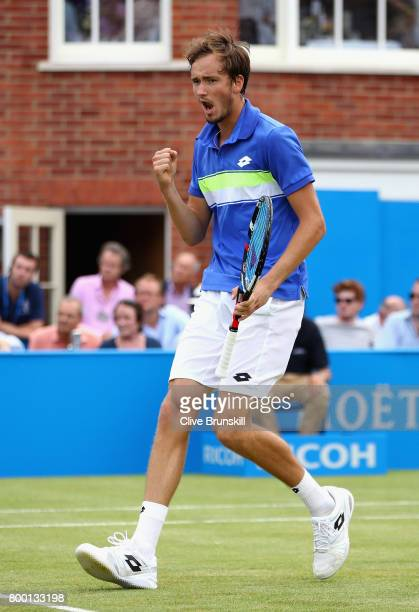 Daniil Medvedev of Russia celebrates during the mens singles quarter final match against Grigor Dimitrov of Bulgaria on day five of the 2017 Aegon...
