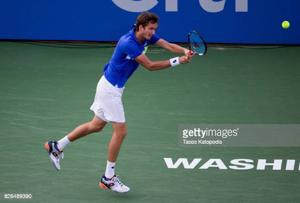 Daniil Medvedev of Russia competes Alexander Zverev of Germany at William HG FitzGerald Tennis Center on August 4 2017 in Washington DC