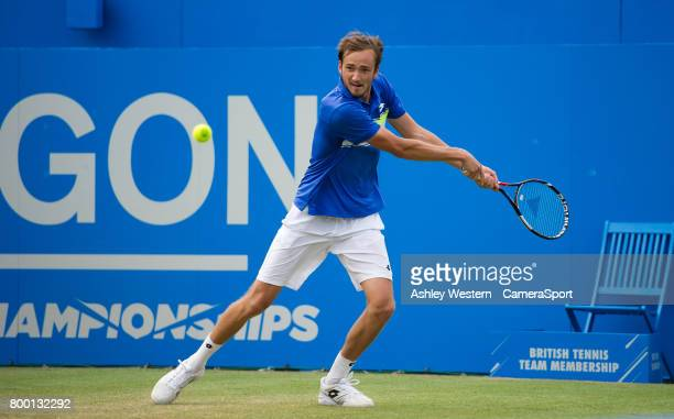 Daniil Medvedev of Russia in action against Grigor Dimitrov of Bulgaria in their Men's Singles Quarter Final Match during Day 5 of the Aegon...