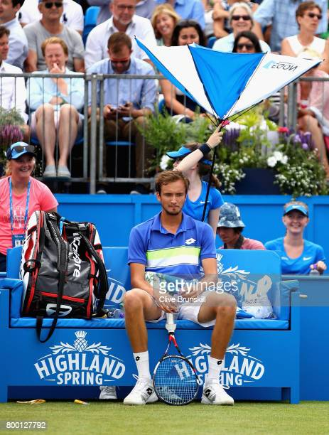 Daniil Medvedev of Russia looks on during the mens singles quarter final match against Grigor Dimitrov of Bulgaria on day five of the 2017 Aegon...