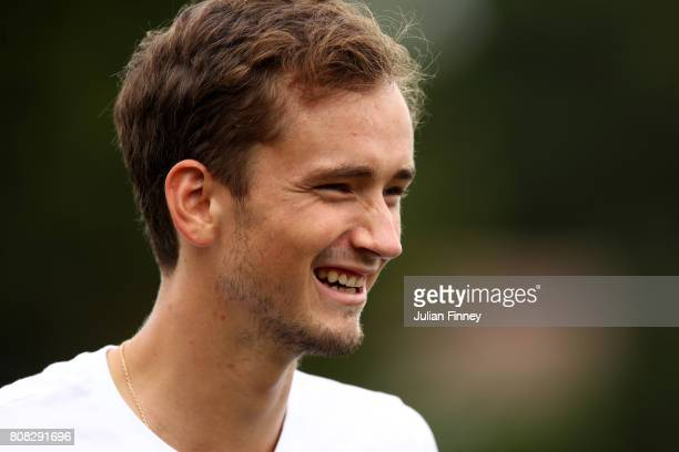 Daniil Medvedev of Russia looks on on day two of the Wimbledon Lawn Tennis Championships at the All England Lawn Tennis and Croquet Club on July 4...