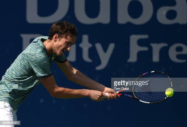 Daniil Medvedev of Russia plays a backhand during his second round match against Philipp Kohlschreiber of Germany on day four of the ATP Dubai Duty...