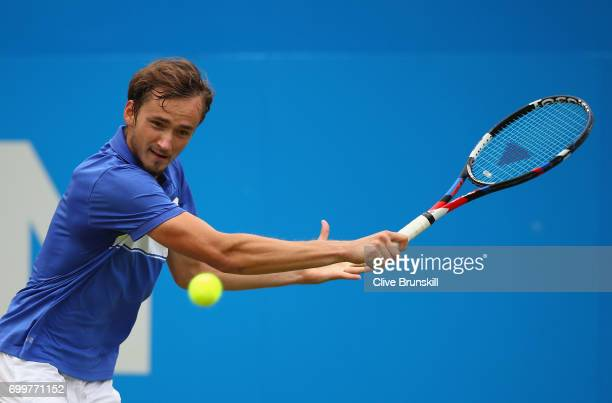 Daniil Medvedev of Russia plays a backhand during the mens singles second round match against Thanasi Kokkinakis of Australia on day four of the 2017...