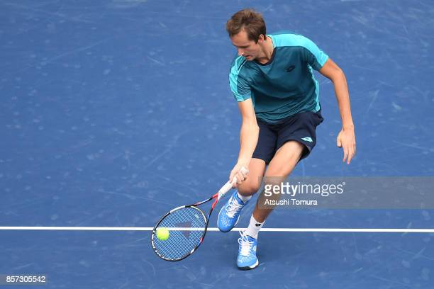 Daniil Medvedev of Russia plays a forehand against Alexandr Dolgopoloc of Ukraine during day three of the Rakuten Open at Ariake Coliseum on October...
