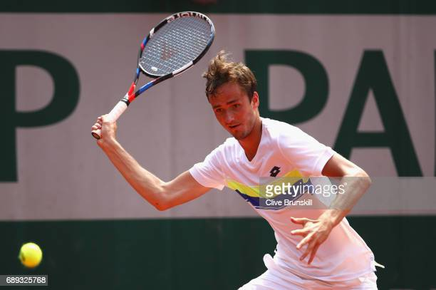 Daniil Medvedev of Russia plays a forehand during the mens singles first round match against Benjamin Bonzi of France on day one of the 2017 French...