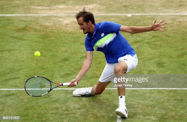 Daniil Medvedev of Russia plays a forehand during the mens singles quarter final match against Grigor Dimitrov of Bulgaria on day five of the 2017...