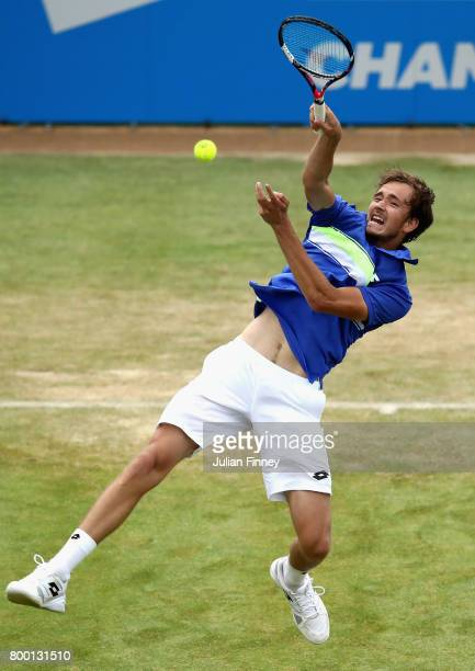Daniil Medvedev of Russia plays a volley during the mens singles quarter final match against Grigor Dimitrov of Bulgaria on day five of the 2017...