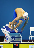 Daniil Pahhomov of Russia leaves the starting blocks during the Men's 50m Butterfly semi finals on day eleven of the Baku 2015 European Games at the...