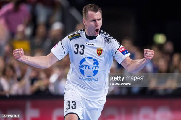 Daniil Shishkarev of Vardar celebrates after a goal during the VELUX EHF FINAL4 Final match between Paris SaintGermain Handball and HC Vardar at...
