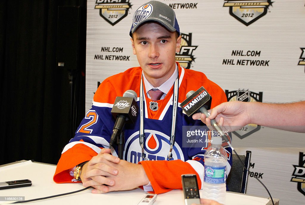 Daniil Zharkov, 91st overall pick by the Edmonton Oilers, speaks to media during day two of the 2012 NHL Entry Draft at Consol Energy Center on June 23, 2012 in Pittsburgh, Pennsylvania.