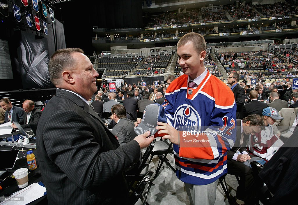 Daniil Zharkov, drafted 91st overall by the Edmonton Oilers meets the team during day two of the 2012 NHL Entry Draft at Consol Energy Center on June 23, 2012 in Pittsburgh, Pennsylvania.