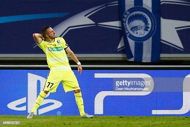 Danijel Milicevic of Gent celebrates scoring his teams first goal of the game during the UEFA Champions League Group H match between KAA Gent and...
