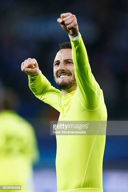 Danijel Milicevic of Gent celebrates scoring his teams second goal of the game during the group H UEFA Champions League match between KAA Gent and...