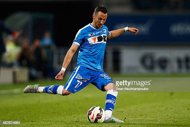 Danijel Milicevic of Gent in action during the Jupiler League match between KAA Gent and KRC Genk held at the Ghelamco Arena on July 31 2015 in Gent...
