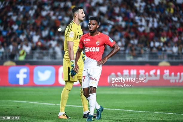Danijel Subasic and Thomas Lemar looks dejected during the Champions Trophy match between Monaco and Paris Saint Germain at Stade IbnBatouta on July...