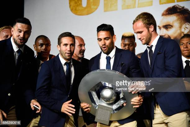 Danijel Subasic Joao Moutinho Radamel Falcao and Valere Germain of Monaco with the trophy during AS Monaco French Ligue 1 Winners Parade on May 21...
