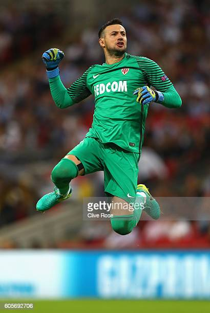 Danijel Subasic of AS Monaco celebrates after his side scored their second goal during the UEFA Champions League match between Tottenham Hotspur FC...