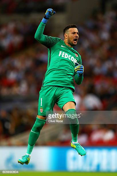 Danijel Subasic of AS Monaco celebrates his teams second during the UEFA Champions League match between Tottenham Hotspur FC and AS Monaco FC at...