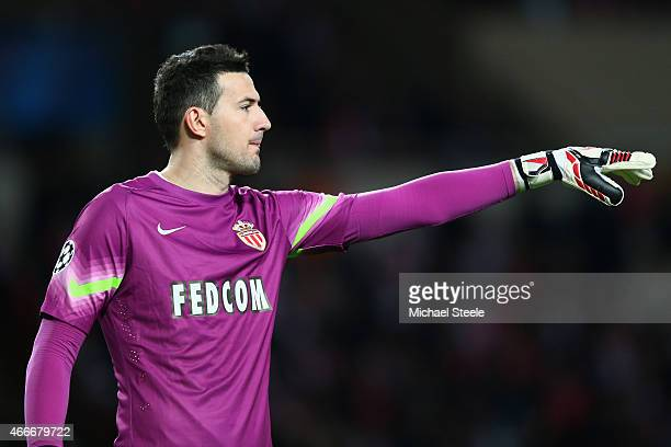 Danijel Subasic of AS Monaco during the UEFA Champions League Round of Sixteen 2nd Leg match between AS Monaco and Arsenal at Stade Louis II on March...