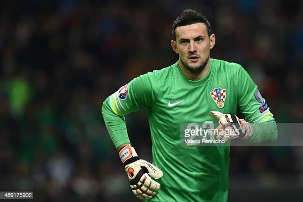 Danijel Subasic of Croatia looks on during the EURO 2016 Group H Qualifier match between Italy and Croatia at Stadio Giuseppe Meazza on November 16...