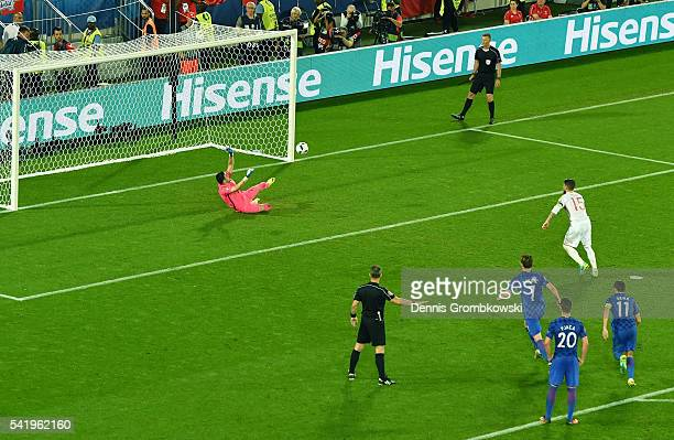 Danijel Subasic of Croatia stops the penalty kick by Sergio Ramos of Spain during the UEFA EURO 2016 Group D match between Croatia and Spain at Stade...