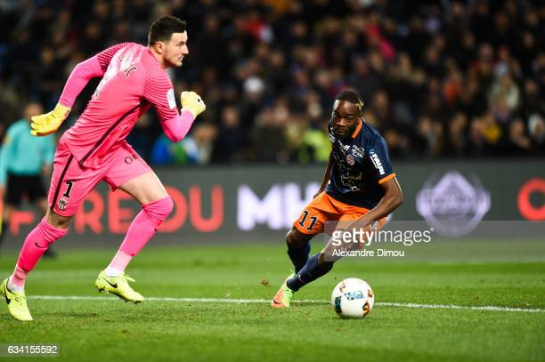 Danijel Subasic of Monaco and Jonathan Ikone of Montpellier during the French Ligue 1 match between Montpellier and Monaco at Stade de la Mosson on...