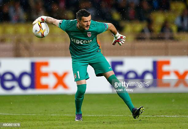 Danijel Subasic of Monaco dispatches the ball during the UEFA Europa League group J match between AS Monaco FC and Tottenham Hotspur FC at Stade...