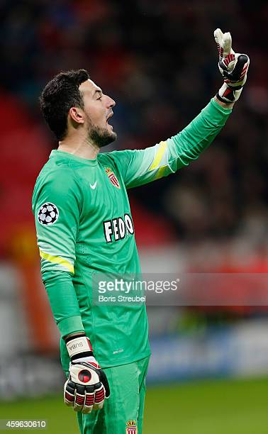 Danijel Subasic of Monaco gestures during the UEFA Champions League group C match between Bayer 04 Leverkusen and AS Monaco FC at BayArena on...