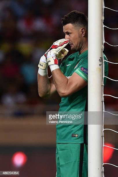 Danijel Subasic of Monaco gestures during the UEFA Champions League qualifying round play off second leg match between Monaco and Valencia on August...