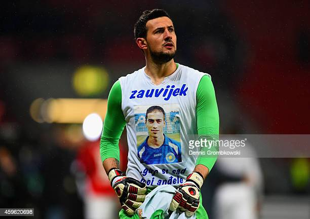 Danijel Subasic of Monaco looks on during the UEFA Champions League group C match between Bayer 04 Leverkusen and AS Monaco FC at BayArena on...