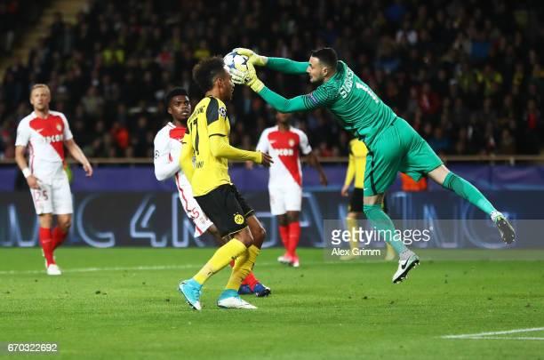 Danijel Subasic of Monaco makes a save in front of PierreEmerick Aubameyang of Borussia Dortmund during the UEFA Champions League Quarter Final...