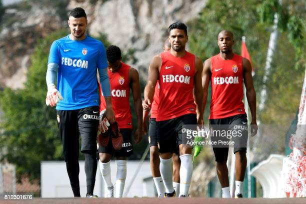 Danijel Subasic Radamel Falcao and Djibril Sidibe of Monaco during training session of As Monaco on July 10 2017 in Monaco Monaco