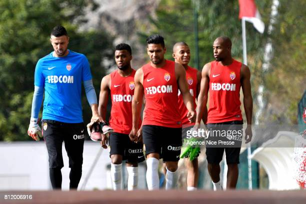 Danijel Subasic Thomas Lemar Falcao Kylian Mbappe and Djibril Sidibe of Monaco during training session of As Monaco on July 10 2017 in Monaco Monaco