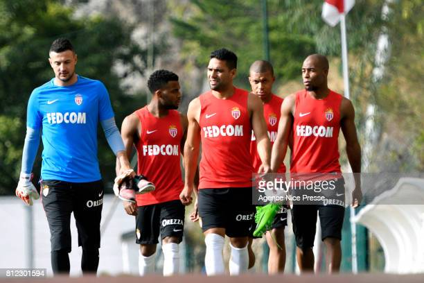 Danijel Subasic Thomas Lemar Radamel Falcao Kylian Mbappe and Djibril Sidibe of Monaco during training session of As Monaco on July 10 2017 in Monaco...