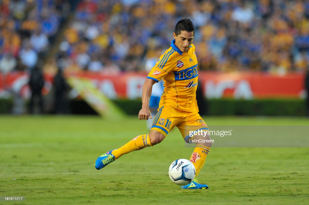 Danilinho of Tigres in action during a match between Tigres UANL and Puebla FC as part of the Liga MX at Universitario stadium on September 21, 2013 in Monterrey, Mexico.